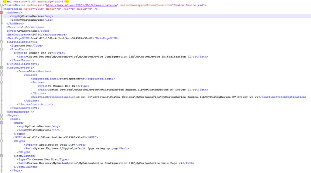 Custom Device XML Definition file